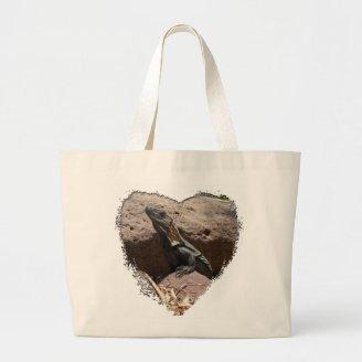 Little Iguana on the Rocks; No Text Tote Bags