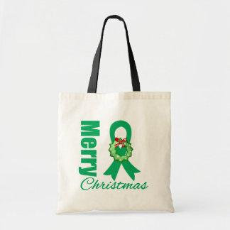 Liver Cancer Awareness Merry Christmas Ribbon Canvas Bags