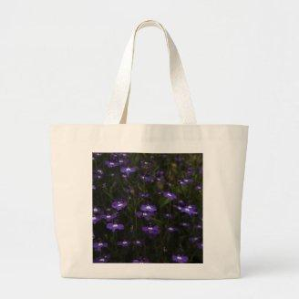 Lobelia, Purple Flowers with Dark Background. Canvas Bags