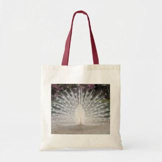 Lovely White Peacock - Budget Tote Canvas Bags