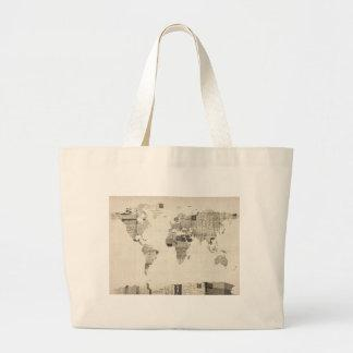 Map of the World Map from Old Postcards Bags