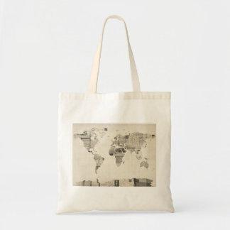 Map of the World Map from Old Postcards Canvas Bag