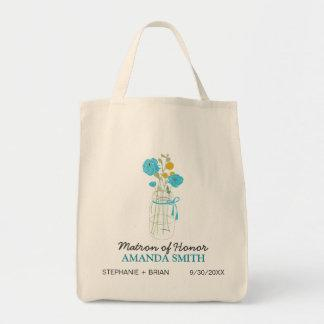 Mason Jar Custom Wedding Party Tote Bag (aqua)