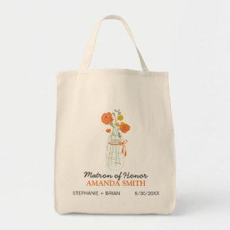 Mason Jar Custom Wedding Party Tote Bag (coral)