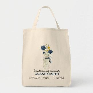 Mason Jar Custom Wedding Party Tote Bag (navy)