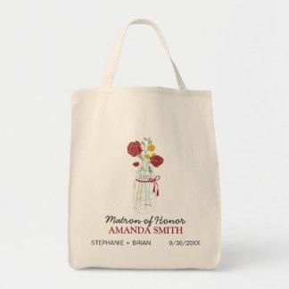 Mason Jar Custom Wedding Party Tote Bag (red)