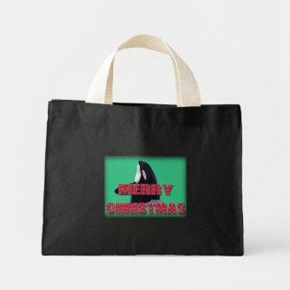 Merry Christmas Orca Whale Spy Hop Christmas Gifts Tote Bags