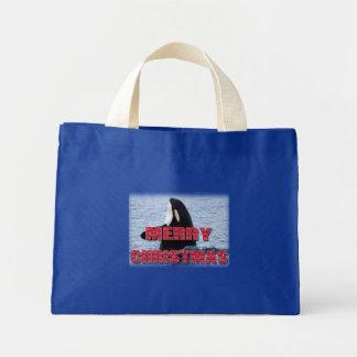 Merry Christmas Orca Whale Spy Hop Holiday Gifts Canvas Bag