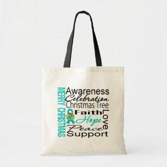 Merry Christmas Ovarian Cancer Ribbon Collage Bag