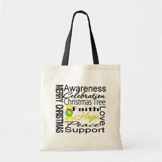 Merry Christmas Sarcoma Cancer Ribbon Collage Tote Bag