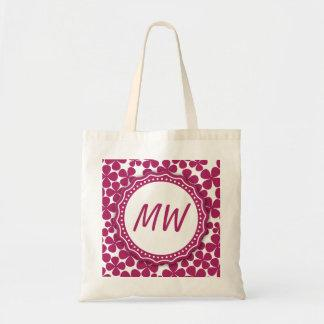 Monogram Retro Flower Pattern Acai Pink and White Canvas Bag