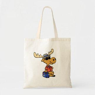 Moose tourist - Hipster moose with luggage Tote Bag