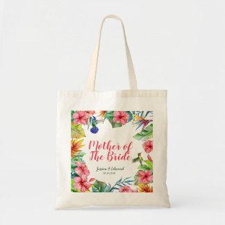 Mother of the Bride Tropical Floral Custom Wedding Tote Bag