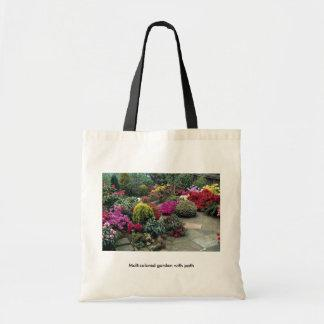 Multicolored garden with path bags