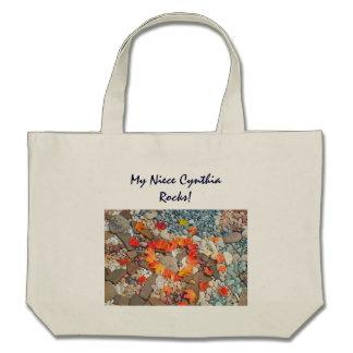My Niece Rocks! personalized gifts Tote Bags Heart