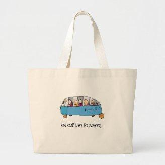 On Our Way To School Tote Bags