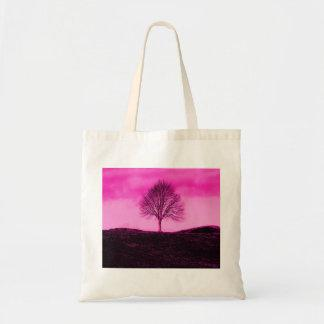 One Lone Tree Silhouette Hot Pink Landscape Tote Bag