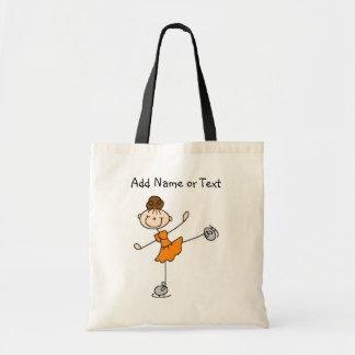 Orange Stick Figure Girl Ice Skater Customized Bag