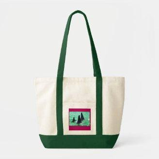 Orca Whales Come Sailing on Christmas Day Holiday Canvas Bag