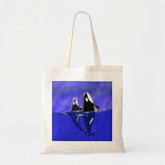 Orca Whales Spy Hopping Tote Bag