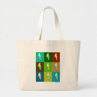 Parakeets in Earthy colored tiled Pattern Canvas Bags