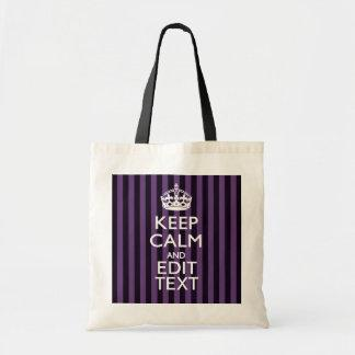 Personalize it Keep Calm Your Text Purple Stripes Tote Bag