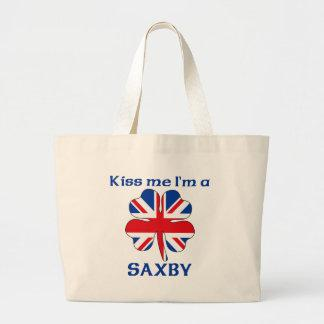 Personalized British Kiss Me I'm Saxby Tote Bags