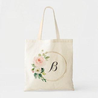 personalized Floral Wreath Tote Bag Bridesmaid