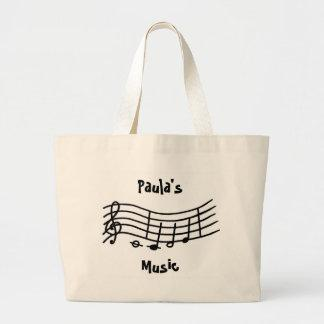 Personalized Name, music notes wavy scale, bag
