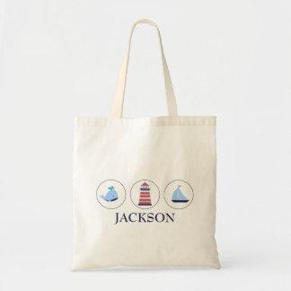 Personalized Nautical Budget Tote Bag