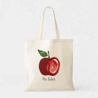 Red Apple Add Name Tote Bag