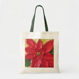 Red Poinsettia Christmas Tote Bags