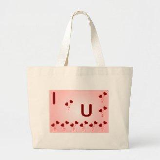 Romantic I Love You illustration with red hearts Tote Bags