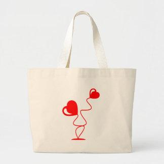 Romantic illustrations with two hearts tote bags