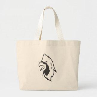 Serious Cardinal Bird in Black and White Tote Bags