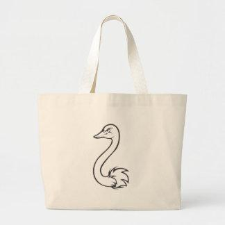 Serious Ostrich Bird in Black and White Canvas Bag