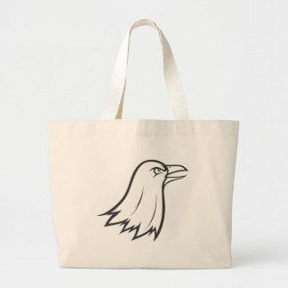 Serious Raven Bird in Black and White Canvas Bag