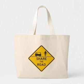 Share the Road Highway Sign Canvas Bag