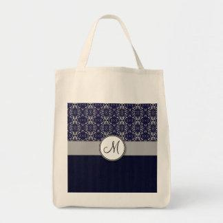 Silver Damask on Blue with Stripes and Monogram Tote Bag