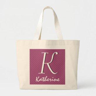 Soft Pink Polka Dot Pattern Initial and Name Gift Bags