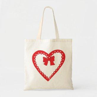 Sweet Red Heart Tote Bags