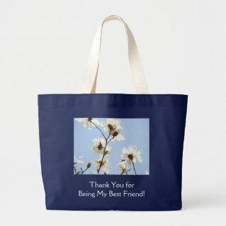 Thank You for Being My Best Friend! Blue Magnolias Canvas Bag