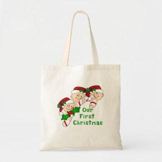 Triplets First Christmas Candy Cane Canvas Bags