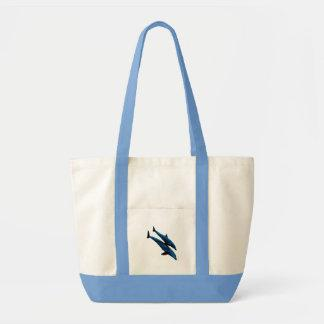 Two Dolphins Swiming at Sea Tote Bags