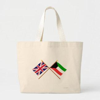 UK and Kuwait Crossed Flags Bags
