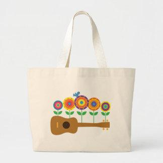 Ukulele Flowers Large Tote Bag