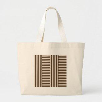 V&H Simple Broad Stripes - Almond and Cafe Noir Bags