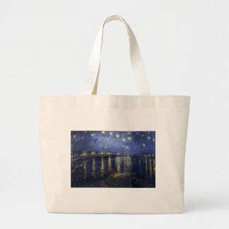 Van Gogh Starry Night Over The Rhone Tote Bags