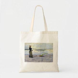 Victorian Woman Beside Water Canvas Bags