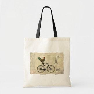 Vintage Rooster Riding a Bike by the Eiffel Tower Tote Bag